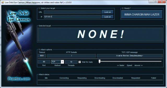 LOIC: Das Tool lässt Nutzer Teil eines freiwilligen Botnets werden. (Bildquelle: Sourceforge)