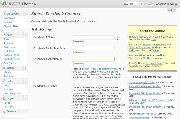 Wordpress kann auch Facebook und Twitter.