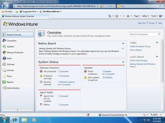 Windows Intune ist eine Kombination verschiedener Cloud-Dienste von Microsoft zur Administration von PCs.