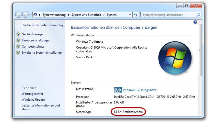 Versteckt: Das 64-Bit-Windows sieht genauso aus wie sein 32-Bit-Pendant und offenbart nur an wenigen Stellen seine x64-Wurzeln.