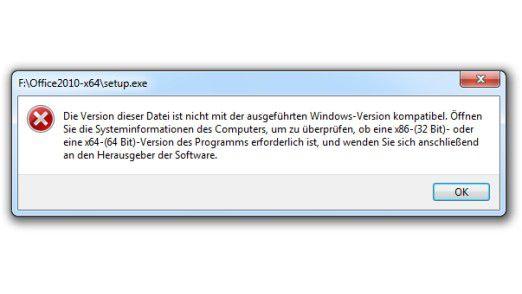 Der Versuch, eine 64-Bit-Anwendung auf einem 32-Bit-Windows zu starten, schlägt fehl.