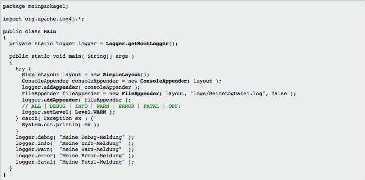 Wie diese beispielhafte Klasse zeigt, ist die Arbeit mit Log4J sehr einfach.