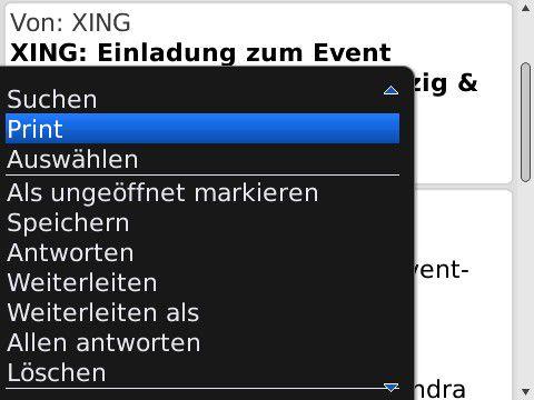 HP ePrint integriert sich direkt ins Kontextmenü, etwa im E-Mail-Client.