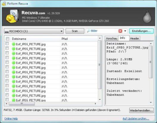 Die Freeware Recuva stellt gelöschte Files wieder her.