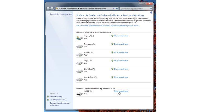 Bitlocker erlaubt es, ganze Partitionen mitsamt dem Betriebssystem zu verschlüsseln.
