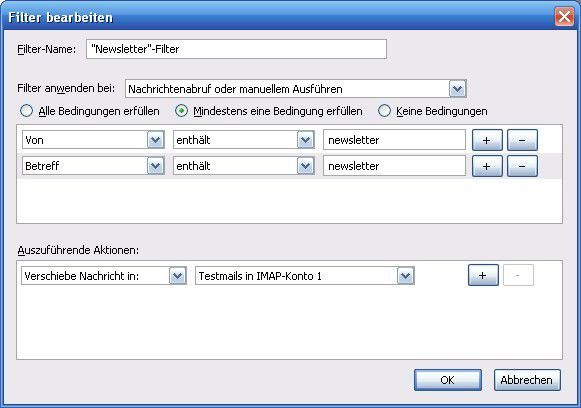 Mail-Filter in Thunderbird einrichten