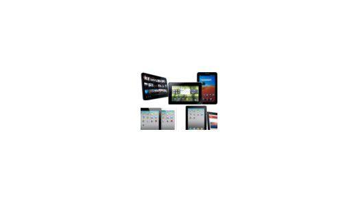 Unsere fünf Testkandidaten: Apples iPad und iPad 2, Samsungs Galaxy Tab, das Motorola Xoom sowie RIMs Playbook.
