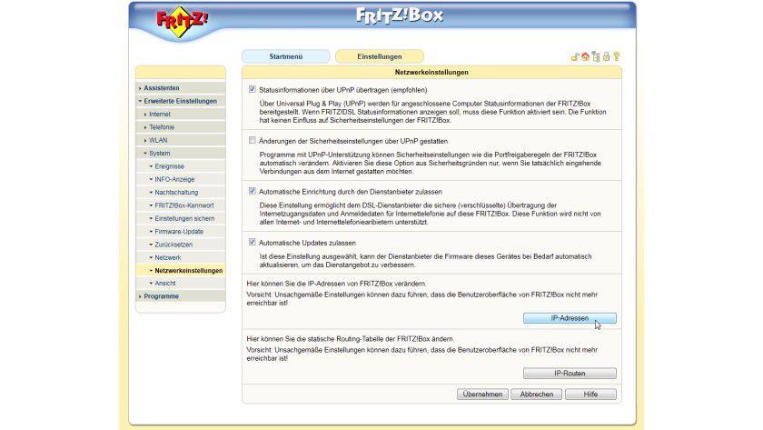 Details: Ein Merkmal aller Router/Firewall-Geräte für den Home-Bereich ist eine übersichtliche Weboberfläche, wie in diesem Beispiel bei einer Fritz!Box von AVM.