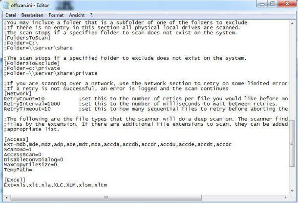 Konfigurieren von offscan.exe über die Konfigurationsdatei offscan.ini.