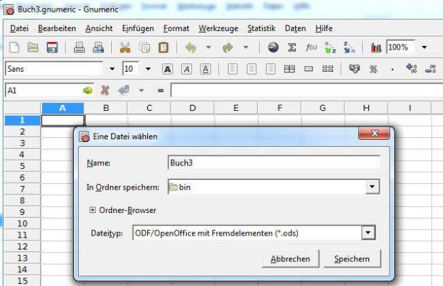 Excel-Arbeitsmappen mit Gnumeric öffnen, bearbeiten und konvertieren.