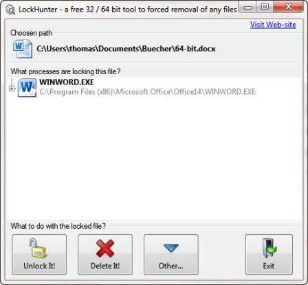 Anzeigen des Programms, das eine Datei blockiert.