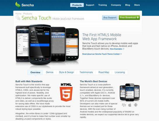 """Mit dem quelloffenen HTML5-Framework """"Sencha Touch"""" lassen sich mobile Web-Anwendungen für iPhone, iPad, Android und Blackberry entwickeln, die den nativen Applikationen Konkurrenz machen."""
