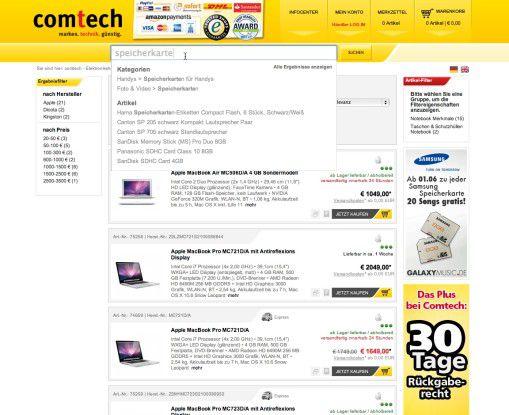 Im Web 2.0-Stil zeigt die Suche beim Comtech intelligent vorsortierte Artikel und Kategorien.