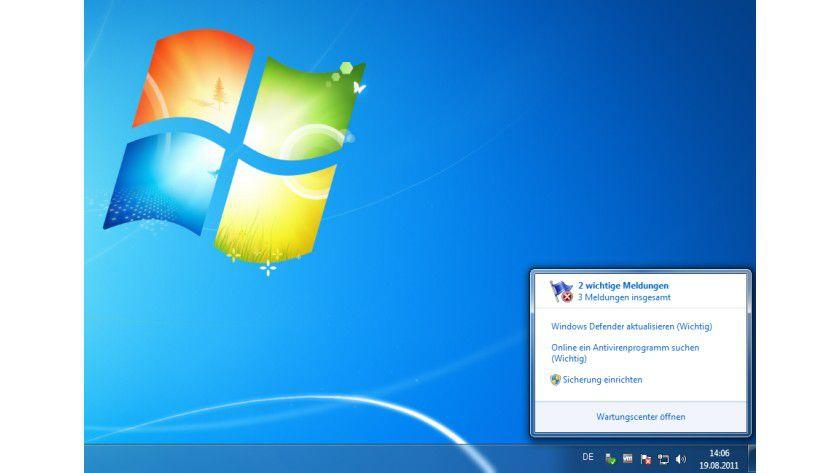 Achtung: Dieses Bild sollte eigentlich auf keinem Windows-System erscheinen: Es fehlt eine Antiviren-Lösung, die den PC schützt.