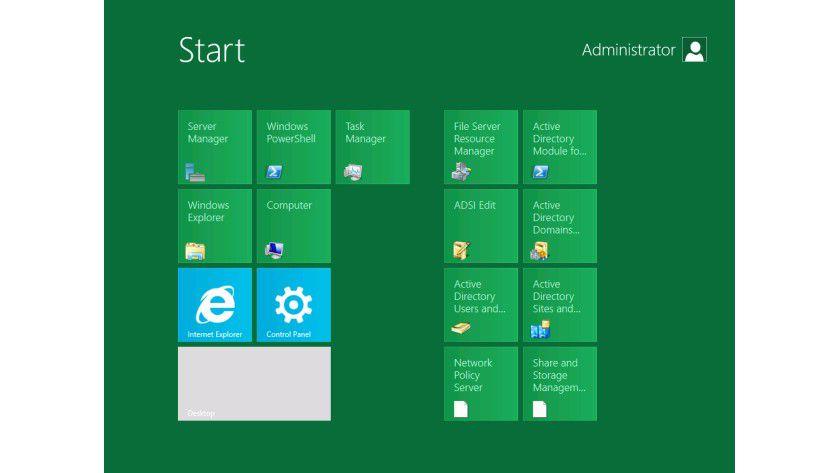 """Das neue Startmenü"""" von Windows Server 8 orientiert sich bei der Developer-Preview-Version am Windows 8-Client."""
