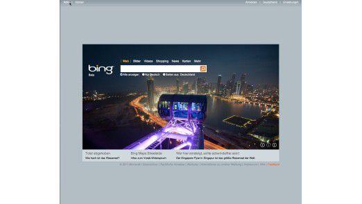 Das wechselnde Hintergrundbild bringt etwas Leben in die ansonsten Google-nüchterne Bing-Startseite.