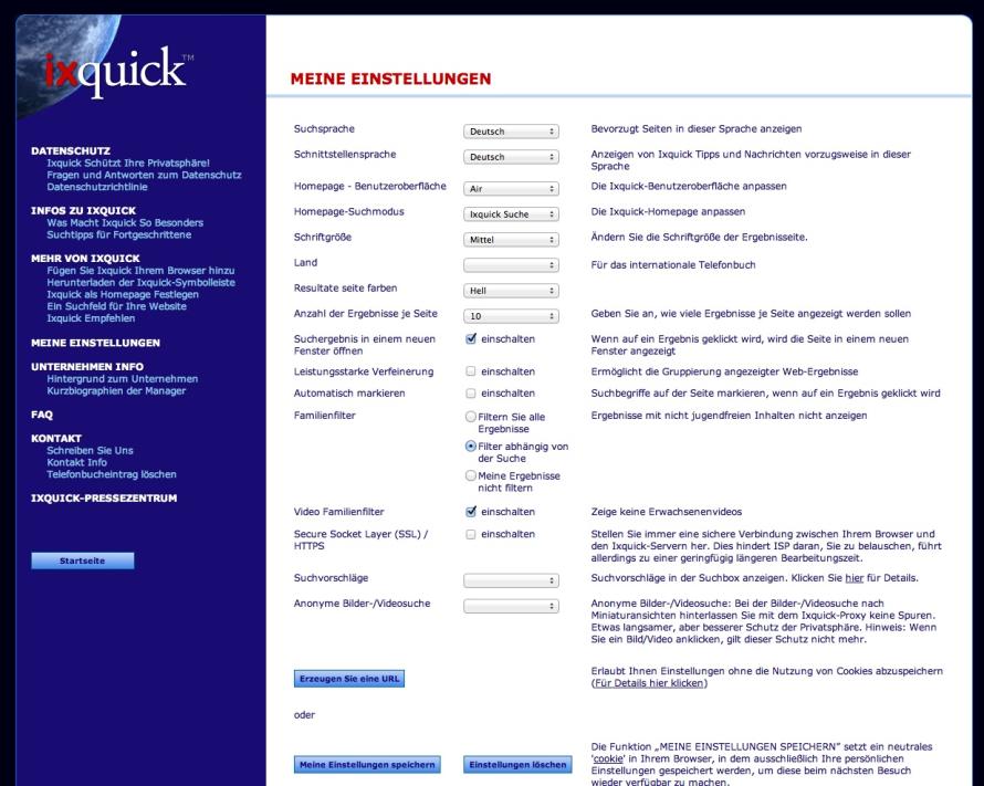 Die erweiterte Suche bietet auch einen Jugenschutzfilter.