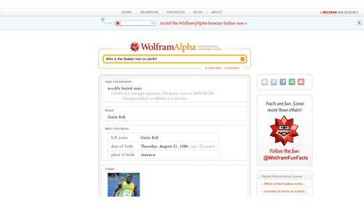 Die Wissensmaschine Wolfram Alpha beantwortet Fragen.