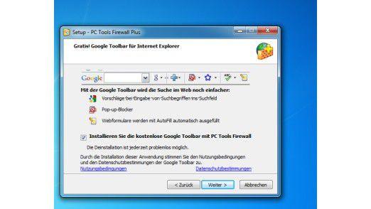 """Die freie Lösung PC Tools Firewall Plus versucht bei der Installation einen sogenannten Toolbar mit auf das System zu bringen. Wer hier zu schnell auf """"Weiter"""" drückt, muss diesen später wieder per Hand entfernen."""
