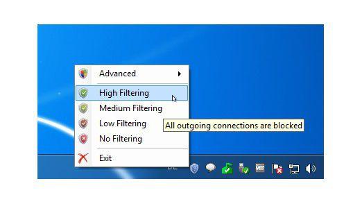 Nach der Installation der Firewall-Erweiterung der Firma Binisoft steht ein direkter Zugriff auf die Einstellungen der Schutzvorrichtung im Tasktray bereit.