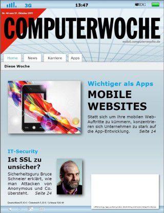 Das Titelbild der neuen CW ist ganz im Sinne mobiler Websites gestaltet.