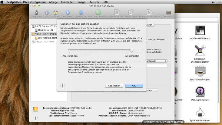 Der Zugriff auf externe Datenträger unter Mac OS X Lion: Bei diesem System können die Anwender erstmals auch solche Platten ohne Zusatzprogramme verschlüsseln.