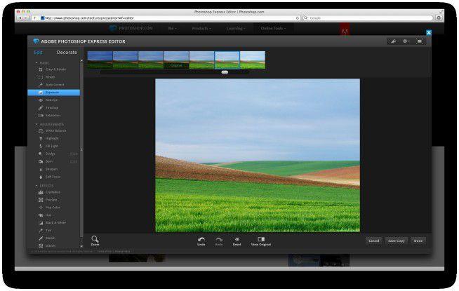 Bildbearbeitung im Web mit Photoshop Express.