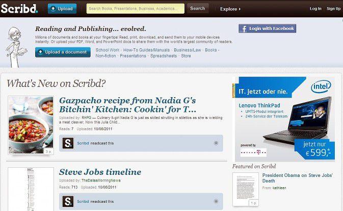 Scribd, die Online-Plattform für Dokumente.