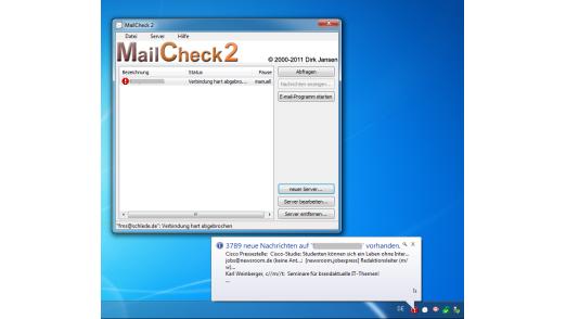 MailCheck2 kann so konfiguriert werden, dass sie dem Nutzer in der Tool-Leiste einen Überblick über die auf den verschiedenen Konten eingegangenen Mail-Nachrichten bietet.
