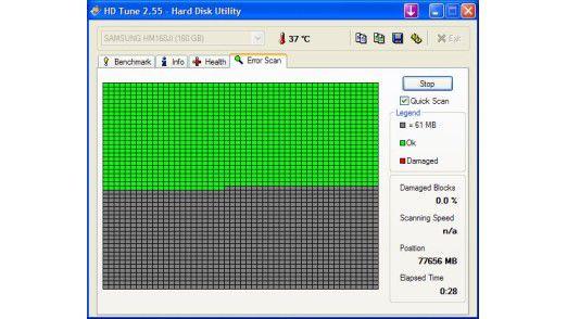 Live kann man am Bildschirm verfolgen, ob die Festplatte fehlerhafte Sektoren hat. Geloggt werden diese Informationen leider nicht.