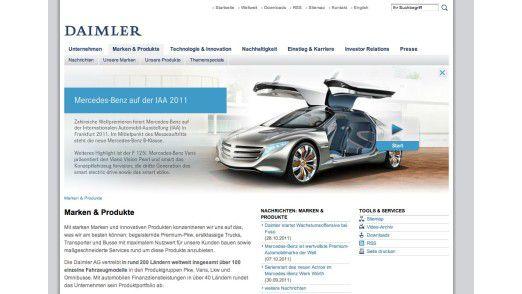 Einem Flash-Teaser schenkt die Daimler AG viel Platz, geizt jedoch bei den Inhalten darunter.