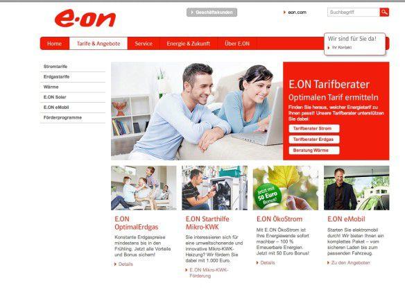 Überall glückliche Kunden: Nichtssagende Lifestyle-Fotos dominieren die Abbildungen bei E.on.