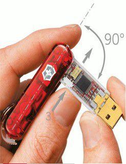 Das Victorinox Secure hat neben den klassischen Taschenmesserfunktionen einen USB-Stick, eine Leuchtdiode und einen Kugelschreiber.