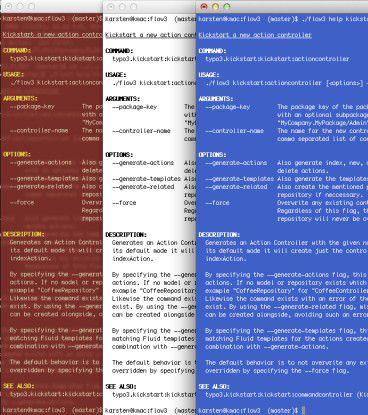 FLOW3 ist auf jedem CLI-Farbschema benutzbar.