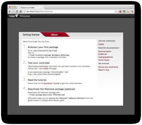 Das Welcome-Package von FLOW3 zeigt, ob alles richtig installiert wurde.