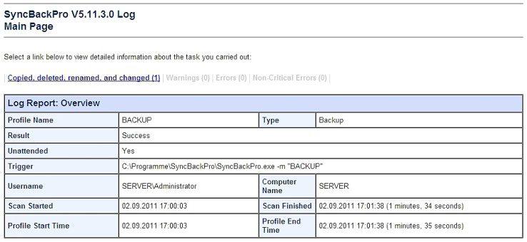 Backup und Sync mit Logging-Funktionalität - SyncBack PRO.