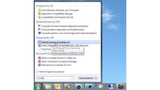 Die integrierte Suche auf den aktuellen Windows-Systemen.