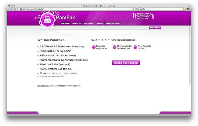 Pamfax - komfortable Lösung für Online-Faxe.