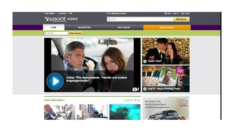 Außer Trailern und Nachrichtenclips gibt es bei Yahoos Videokanal wenig zu entdecken.