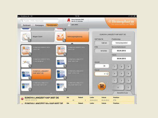 Auftragserfassung online auf dem iPad
