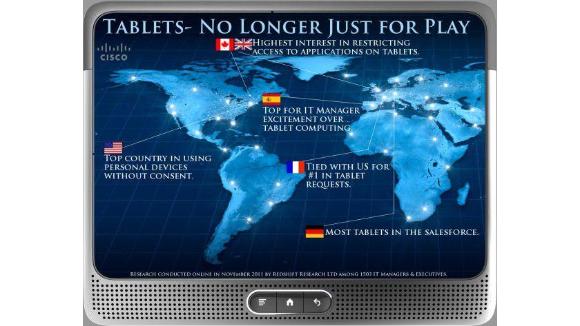 Tablets fürs Business: Die Cisco Global IT Survey zeigt eine steigende Beliebtheit und Verbreitung von Tablets im geschäftlichen Bereich. Dabei sind unterschiedliche Ländertrends zu beobachten. So gibt es zum Beispiel in Deutschland die höchste Verbreitung von Tablets unter Vertriebsmitarbeitern (31% im Vergleich zu 21% im weltweiten Durchschnitt).