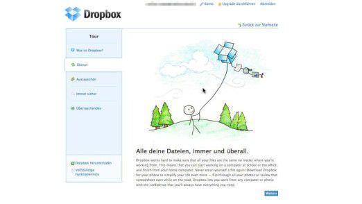 Hübsche Zeichentrickfiguren machen bei der Dropbox-Tour Technik für jeden anschaulich und begreifbar.