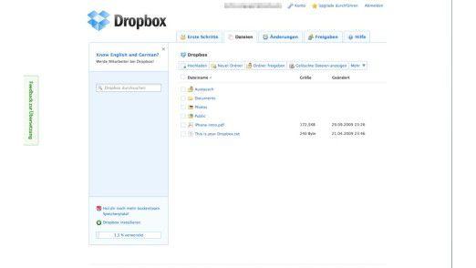 Standardordner machen die Bedienung bei Dropbox leicht verständlich.