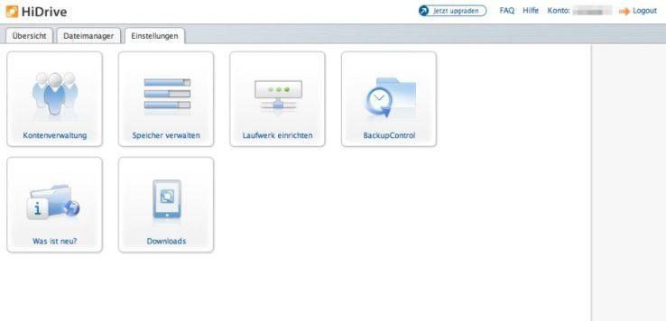 Im Webbrowser erinnert die Oberfläche von HiDrive an eine NAS-Netzwerkfestplatte.