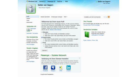 Das SkyDrive-Profil lässt sich mit Social-Media-Diensten verbinden.
