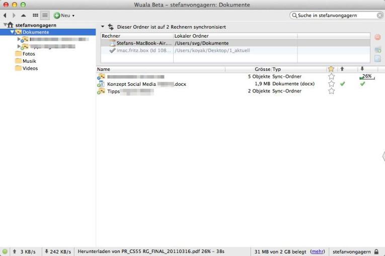 Die Wuala-Software wirkt (wie die Titelleiste auch zugibt) wie eine Beta-Version, die noch Feinschliff braucht. Der Bedienkomfort ist aber in Ordnung.