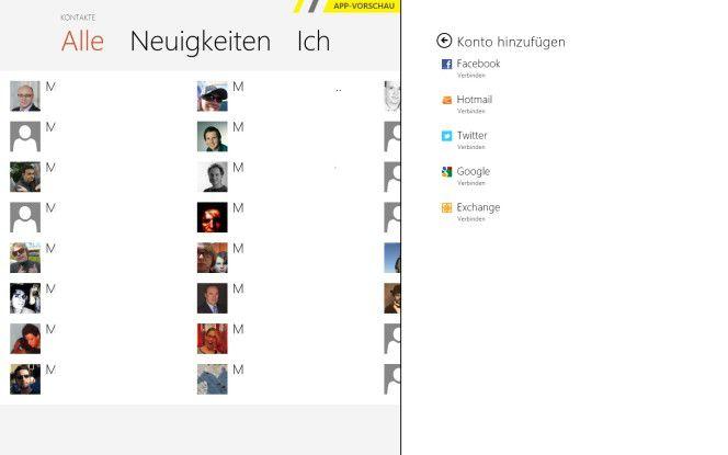 Ansehnlich: Windows 8 verknüpft die Kontakte (hier anonymisiert) mit Daten aus sozialen Netzen.