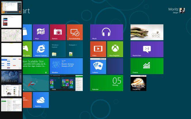 Übersicht: Über die Tastenkombination Windows + Tab kann man die offenen Applikationen links einblenden lassen.
