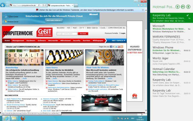 Übersichtlich: E-Mail-Metro-App neben Desktop-Browser.