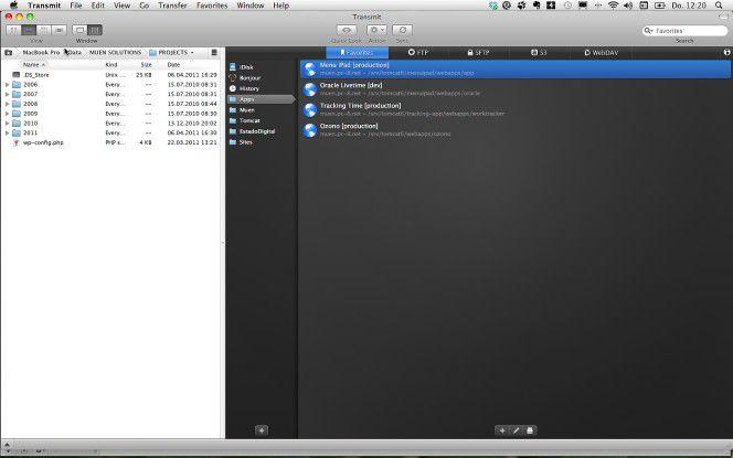 FTP-Übertragung auf dem Mac mit Transmit.